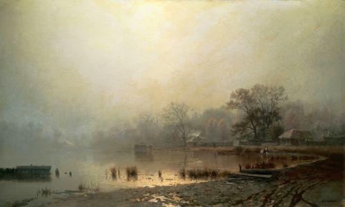 Туман, Красный пруд в Москве осенью