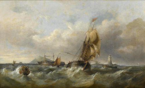 A trading schooner in choppy seas off a moored hulk