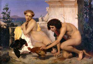 Жером Жан-Леон Jovenes griegos presenciando una pelea de gallos