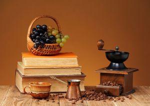 Фотокартины для интерьера Кофе, фрукты и книги