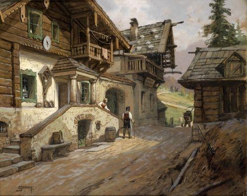 Dorfstrabe in den Alpen