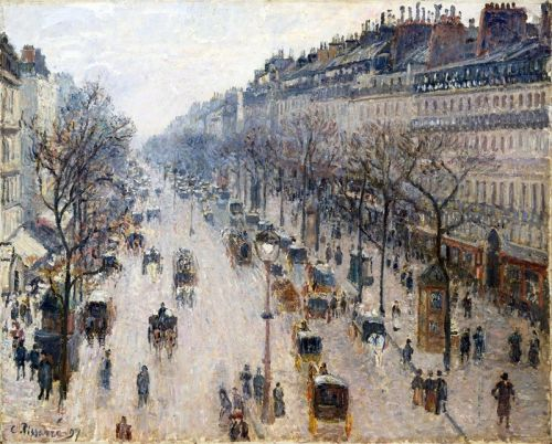Бульвар Монмартр зимой утром