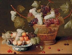 Соро Исаак Корзина с виноградом и фрукты в делфтской вазе