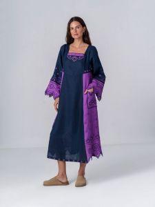 Платье вышиванка ручной работы Льняное платье темно-синего цвета Nizhnist Violet