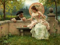 Беседа влюбленных в парке