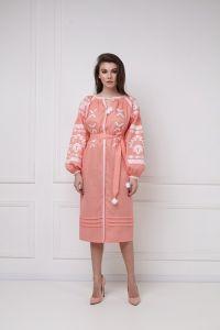 """Вишиті плаття """"Тіна"""" пудрова сукня-міді"""