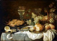 Натюрморт с крабом, рёмером, корзиной с фруктами и др объектами