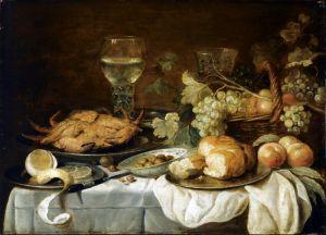 Клас Питер Натюрморт с крабом, рёмером, корзиной с фруктами и др объектами