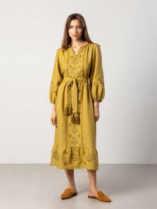 Жіночі вишиванки ручної роботи  Вишита сукня гірчичного кольору з широкими рукавами Tranoy yellow