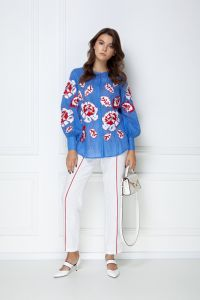 """Блузи ручної роботи """"Камелiя"""" блакитна блуза"""