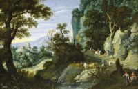 Скалистый пейзаж с путниками