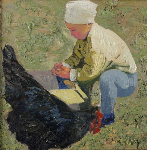Ребенок с курицей