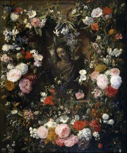Верендаль Николас ван Бюст Девы Марии в гирлянде цветов