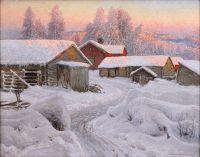 Зимний вечер в северной деревне