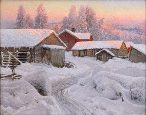 Шультцберг Ансельм Зимний вечер в северной деревне