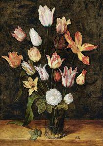 Соро Исаак Натюрморт с букетом тюльпанов и белых роз в стеклянной вазе и жуком