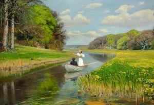 Брендекильде Ганс Андерсен Весна. Молодая пара в гребной лодке на Оденсе