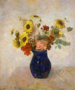 Редон Одилон Букет цветов в небольшой синей вазе