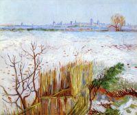 Снежный пейзаж на фоне города Арль