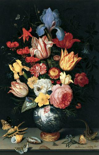 Квітковий натюрморт з мушлями і метеликами