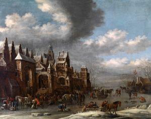 Хереманс Томас Зимний пейзаж с фигурами перед укрепленным городом