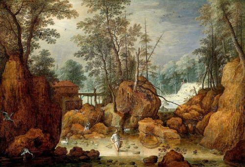 Рыбак в лесистом пейзаже