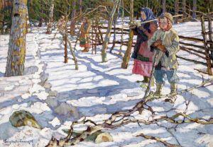 Богданов-Бельский Николай Юные охотники на медведя
