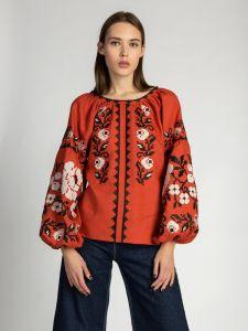 Вишиті сорочки жіночі Темно-теракотова лляна вишиванка FLOW3