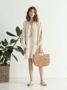 ЕтноДім Легкое миди платье с вышивкой Jungle Light
