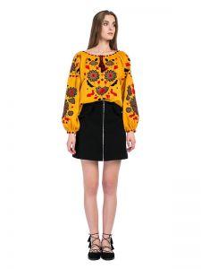 Женские вышитые рубашки Колоритная вышиванка из желтого льна Pride