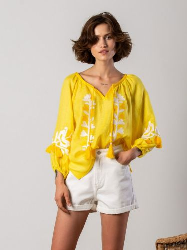 Вышиванка в бохо стиле из желтого льна Daisy