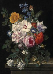 Верендаль Николас ван Букет цветов в стеклянной вазе с жуком и бабочкой на каменном выступе