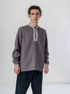 Мужские вышиванки Мужская рубашка с серого льна Tuman