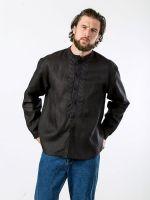 Черная льняная рубашка с вышивкой Victory