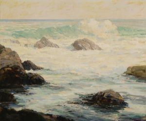 Печатные картины на холсте Волны, разбивающиеся о скалы