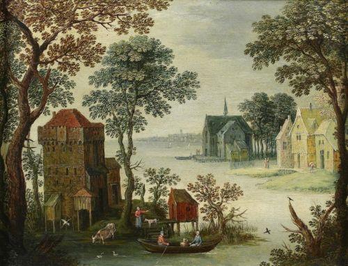 Прибрежная деревня с фигурами в лодке