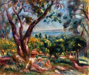 Ренуар Огюст Кань-сюр-Мер, пейзаж с женщиной и ребенком
