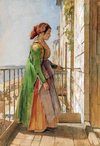 Греческий Девушка стоит на балконе