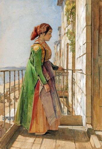 Греческий Девушка стоит на балконе - изображение 1
