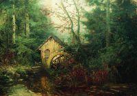 Лесной пейзаж с водяной мельницей