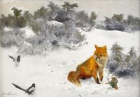 Лис в зимнем пейзаже