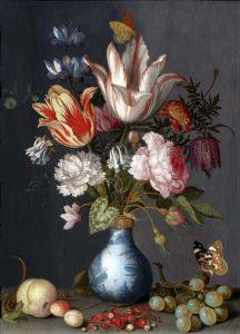Аст Бальтазар ван дер Цветы в сине-белой позолоченной вазе