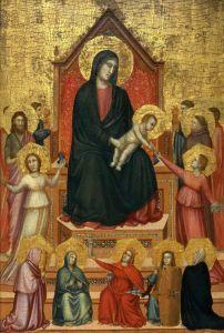 Готика Мадонна на троне со святыми и добродетелями