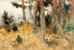 Лильефорс Бруно Лис в лесном пейзаже