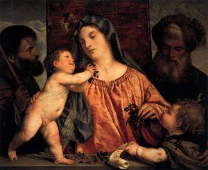 Вечеллио Тициан Мадонна с вишней с Иосифом