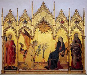 Готика Благовещение с предстоящими святыми
