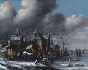 Хереманс Томас Зимний пейзаж с катанием на коньках и санках на замерзшей реке