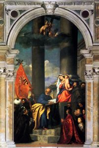 Вечеллио Тициан Pesaros Madonna