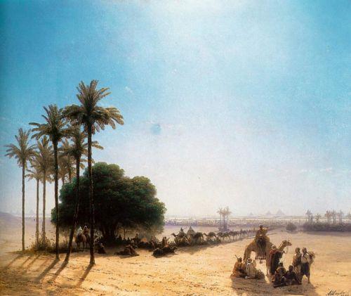 Караван в оазисі, Єгипет