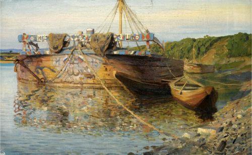 Баржа на реке Оке